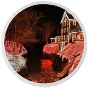 Christmas Lights At Clifton Mill Round Beach Towel