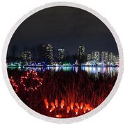 Christmas Lights At Lafarge Lake In City Of Coquitlam Round Beach Towel