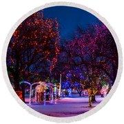 Christmas Lights At Locomotive Park Round Beach Towel