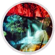Christmas Lights At The Waterfall Round Beach Towel