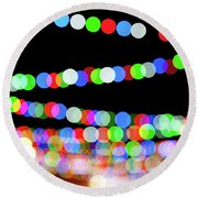 Christmas Lights Bokeh Blur Round Beach Towel
