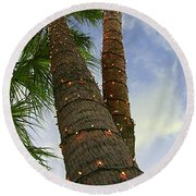 Christmas Lights On Palm Trees Round Beach Towel