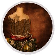 Christmas Mannequin Round Beach Towel