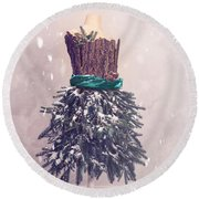 Christmas Mannequin Dressed In Fir Branches Round Beach Towel