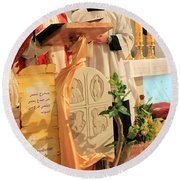 Christmas Mass Round Beach Towel