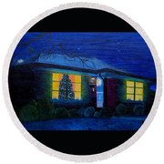 The Image Of Christmas Past Round Beach Towel