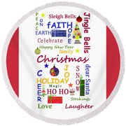 Christmas Message  -  Typography Round Beach Towel