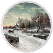Christmas Morn, C1885 Round Beach Towel