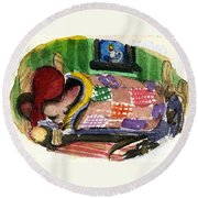 Christmas Mouse Round Beach Towel