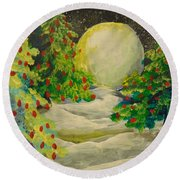 Christmas Night Round Beach Towel