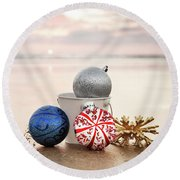 Christmas Ornaments On The Beach Round Beach Towel