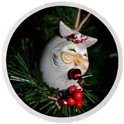 Christmas Owl Round Beach Towel