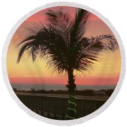 Christmas Palm Round Beach Towel