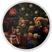 Christmas Past Round Beach Towel