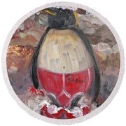 Christmas Penguin Round Beach Towel