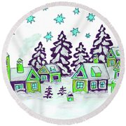 Christmas Picture In Green And Blue Colours Round Beach Towel