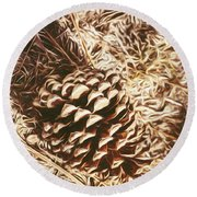 Christmas Pinecone On Barn Floor Round Beach Towel