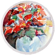 Christmas Poinsettia Round Beach Towel by Mindy Newman