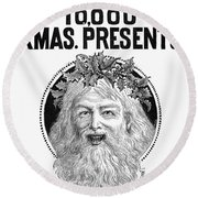 Christmas Present Ad, 1890 Round Beach Towel