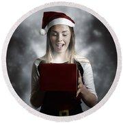 Christmas Present Girl Opening Magic Gift Box Round Beach Towel