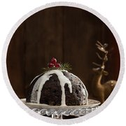 Christmas Pudding With Cream Round Beach Towel