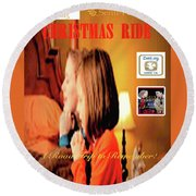 Christmas Ride Family Poster By Karen E. Francis Round Beach Towel