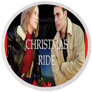 Christmas Ride Poster 16 Round Beach Towel