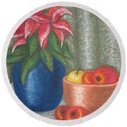 Christmas Rose Round Beach Towel