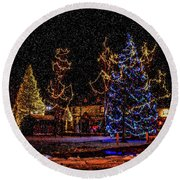 Christmas Snow Storm In Big Bear Round Beach Towel