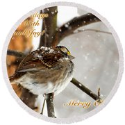 Christmas Sparrow - Christmas Card Round Beach Towel