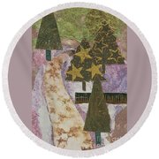 Christmas Stroll Card Round Beach Towel
