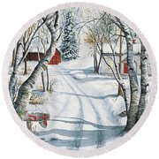 Christmas Surprise Round Beach Towel