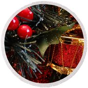 Christmas Time Is Here Round Beach Towel