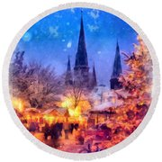 Christmas Town Round Beach Towel