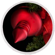 Christmas Tradition - Red Ornament And Ribbon Round Beach Towel