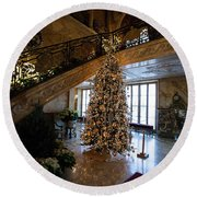 Christmas Tree And Staircase Marble House Newport Rhode Island Round Beach Towel