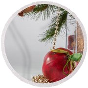 Christmas Tree Branch And Decoration In A Vase Round Beach Towel