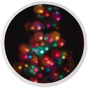 Christmas Tree Circles Abstract  Round Beach Towel