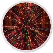 Christmas Tree Colorful Abstract Round Beach Towel
