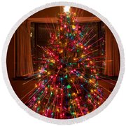 Christmas Tree Light Spikes Colorful Abstract Round Beach Towel