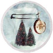 Christmas Tree Snowglobe Round Beach Towel