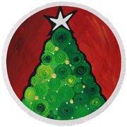 Christmas Tree Twinkle Round Beach Towel