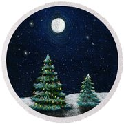 Christmas Trees In The Moonlight Round Beach Towel