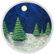 Christmas Trees In The Snow Round Beach Towel