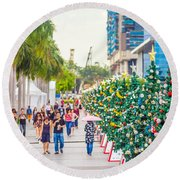 Christmas Trees Round Beach Towel