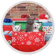 Christmas With Kittens Round Beach Towel