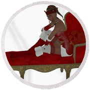 Christmas Woman On Couch Round Beach Towel