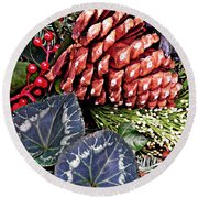 Christmas Wreath 2 Round Beach Towel