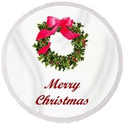 Christmas Wreath Round Beach Towel