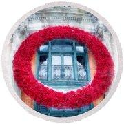 Christmas Wreath Old Quebec City Round Beach Towel